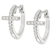 Diamonique Cross Hoop Earrings, Platinum Clad - J322909