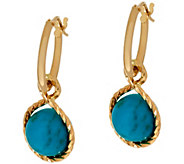 As Is Vicenza Gold Polished Turquoise Charm Hoop Earrings, 14K - J329109