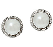 Honora Cultured Pearl 7.0mm & 1/10 cttw Diamond Stud Earrings - J329509