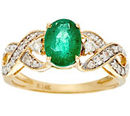 Oval Zambian Emerald & Diamond Solitaire Ring 14K, 0.90 ct - J330209