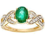 Oval Zambian Emerald & Diamond Solitaire Ring 14K, 0.90 ct - J330209