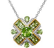Graziela Gems Baguette & Round Gemstone Sterling Pendant w/Chain - J330709