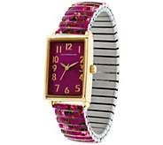 Isaac Mizrahi Live! Floral Rectangular Dial Expansion Watch - J331609
