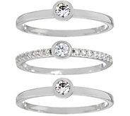 Diamonique Set of Three Round Stack Rings, Sterling or 14K Clad - J334209