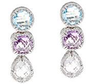 DeLatori Sterling Blue Topaz, Amethyst, Quartz Earrings - J334409
