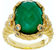 Judith Ripka Sterling & 14K Clad Green Goddess Ring - J335209