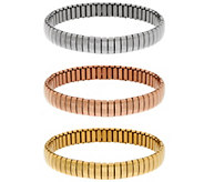 Stainless Steel Set of 3 Polished Stretch Bracelets - J335409