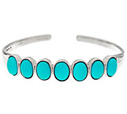 Oval Sleeping Beauty Turquoise Sterling Silver Hinged Cuff - J335709