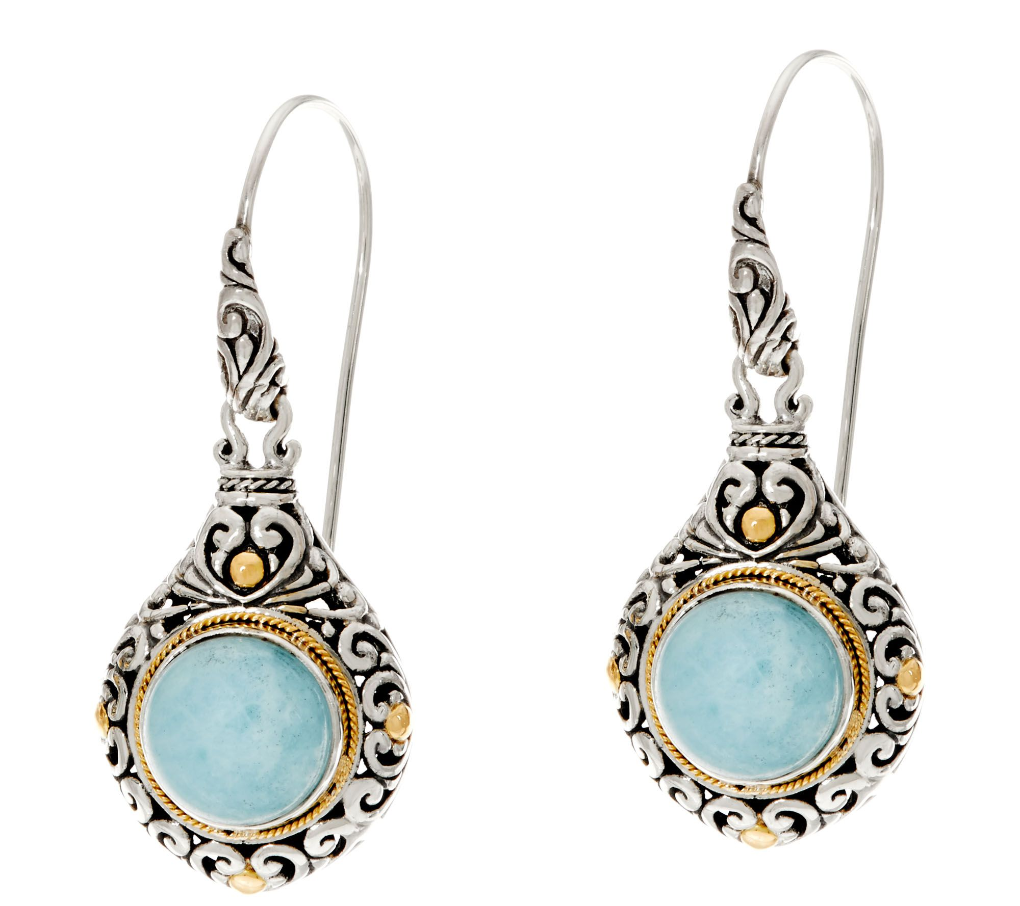 Artisan Crafted Sterling Silver & 18k Gold Gemstone Dangle Earrings — Qvc