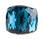 Stainless Steel Bold Faceted Glass Ring - J337609