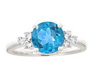 Premier 1.85cttw Round Blue Topaz & Diamond Ring, 14K - J337909