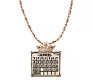 Personalized Rosetone Calendar Crown Charm Neck lace - J338609