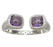 Judith Ripka Sterling Amethyst & Diamonique Hinged Cuff - J339209