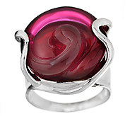 Kalos by Hagit Sterling Pink Floral Glass Ring - J339709