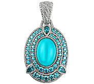 Judith Ripka Sterling Blue Chalcedony & Diamoni que Enhancer - J340009