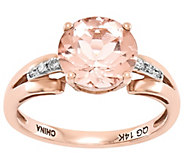 Round Morganite and Diamond Accent Ring, 14K Rose Gold - J342209