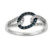 Sterling 1/5 cttw Blue & White Diamond Oval Ring - J342609