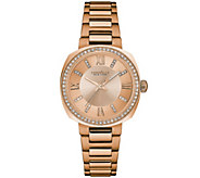 Caravelle New York Womens Rosetone Watch w/ Crystal Accents - J344209