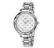 Womens Silvertone Quilt-Dial Watch - J344509