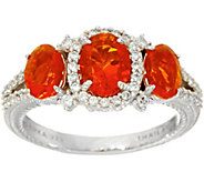 Judith Ripka Sterling Silver 1.50 cttw Mexican Fire Opal Ring - J348209