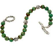 JAI Sterling Silver Carved Floral & Turquoise Bead Bracelet - J348409