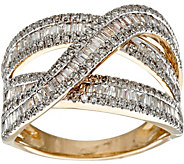 Baguette & Round Diamond Highway Ring, 14K, 1.00 cttw by Affinity - J348809