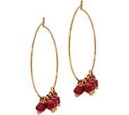 31 Bits Goldtone Melah Hoop Earrings with Dangling Beads - J349309