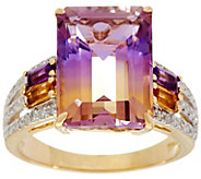 As Is Emerald Cut Ametrine & Diamond Ring 14K Gold 5.80 cttw - J350609