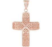 Italian Gold Cross Pendant, 14K Rose Gold - J353709
