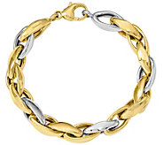 14K Two-tone Polished Oval Link 8  Bracelet, 15.6g - J374809