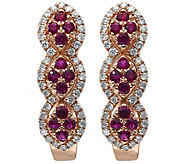 14K Rose Gold 0.30 cttw Ruby & 1/4 cttw Diamond Earrings - J375009