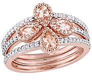 1.30 cttw Morganite & White Topaz Clover Ring Set, Sterling - J375309
