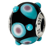 Prerogatives Sterling Black/Blue/Pink Italian Murano GlassBead - J111810