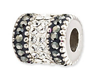 Prerogatives Sterling Black Crystal Barrel Bead - J113210