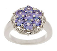 Sterling 1.50 ct tw Tanzanite Round Floral Cluster Ring - J158410