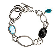 Michael Dawkins Sterling 4.95 ct. Blue Topaz Link Bracelet - J271910