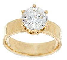 Diamonique 100-Facet 2.00 ct Solitaire Wide Band Ring, 14K
