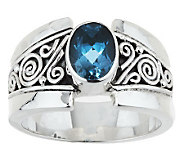 Artisan Crafted Sterling 1.00 ct London Blue Topaz Ring - J282210