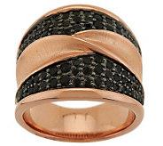Bronzo Italia 1.00 ct tw Black Spinel Satin Bypass Design Ring - J287010