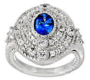 Judith Ripka Sterling 1.50cttw Ceylon Sapphire Oval Ring - J290410