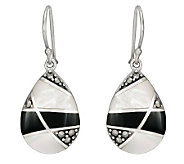 Suspicion Sterling Marcasite Onyx & Mother-of-Pearl Earrings - J298510