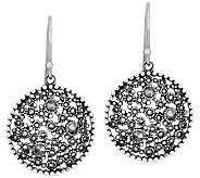 Suspicion Sterling Marcasite Round Dangle Earrings - J309810