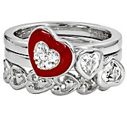 Simply Stacks Sterling Red Hot Love Ring Set - J310010