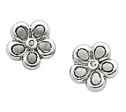 Sterling Diamond Accent Satin Flower Post Earrings - J312810