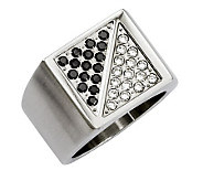 Forza Mens Stainless Steel 1/4 cttw Black&White Diamond Ring - J312910