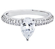 Diamonique Pear Shaped Solitaire Ring, Platinum Clad - J313210