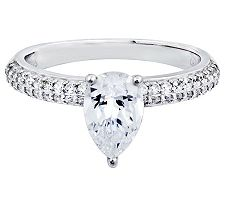 Epiphany Diamonique Pear-Shaped Solitaire Ring