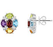 Sterling 2.55 ct tw Multi-Gemstone Cluster Earrings - J314910