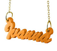 Acrylic Name Plate Necklace, 24K Yellow Gold-Plated Sterling - J315210
