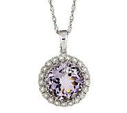 Sterling Round Gemstone & Diamond Pendant with18 Chain - J315710